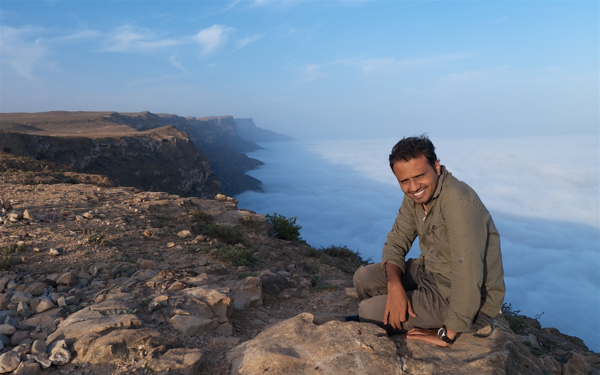 Hadi Hikmani, Arabian Leopard scientist on Jabal Somham, Dhofar in the khareef