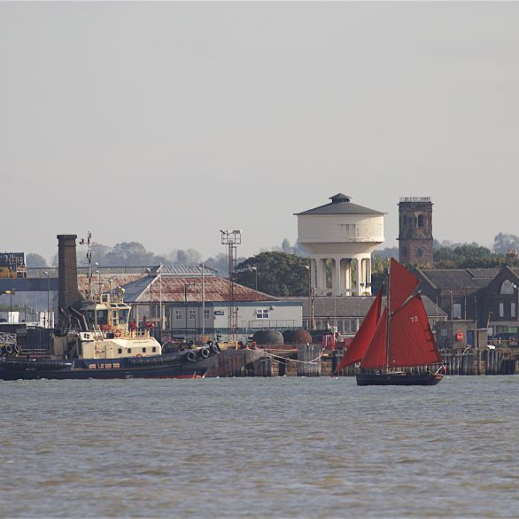 Tugs and water tower