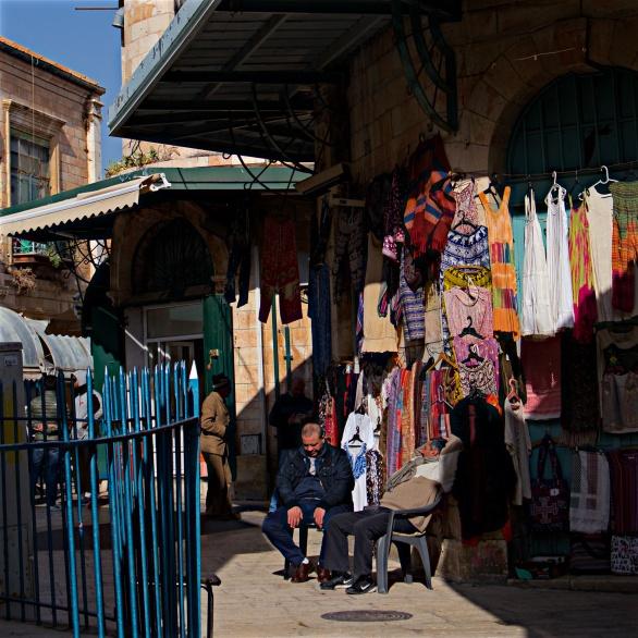 Jerusalem salesmen enjoying the winter sun