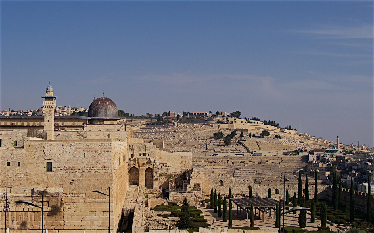 Al Aqsa mosque with the Mount of Olives beyond
