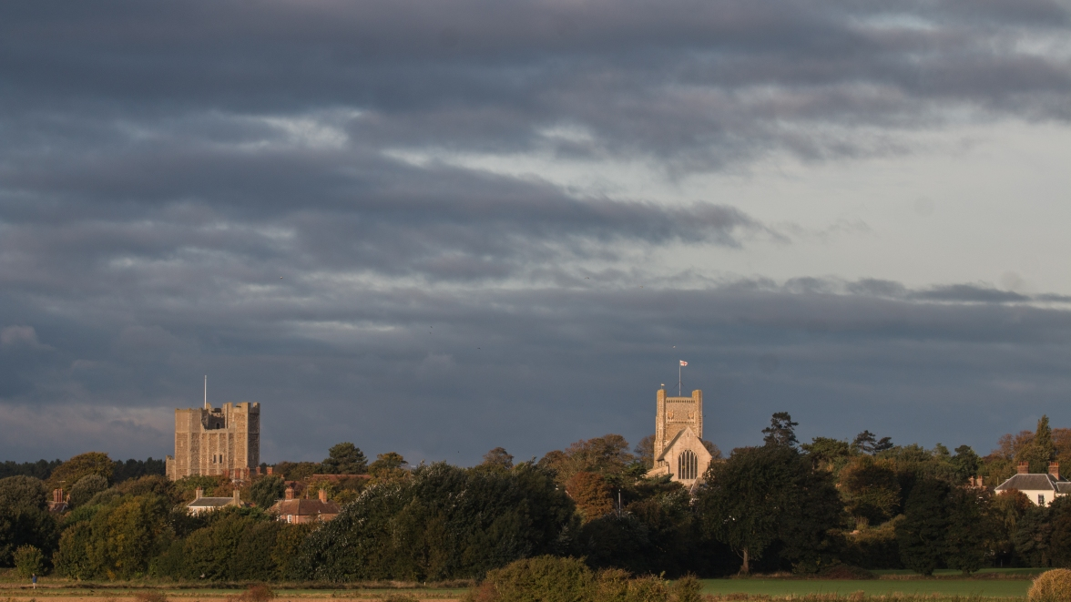 Castle and church in morning light