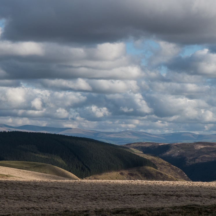 The view from the Elenydd above the Doethie valley south to Hay Bluff and the Brecon Beacons
