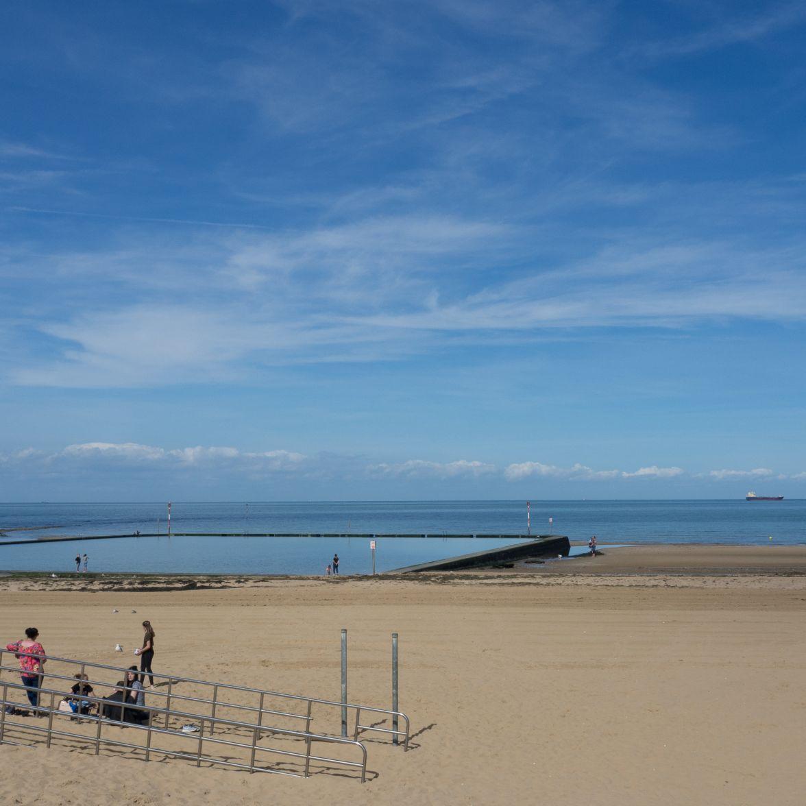 Bathing beach at low tide..
